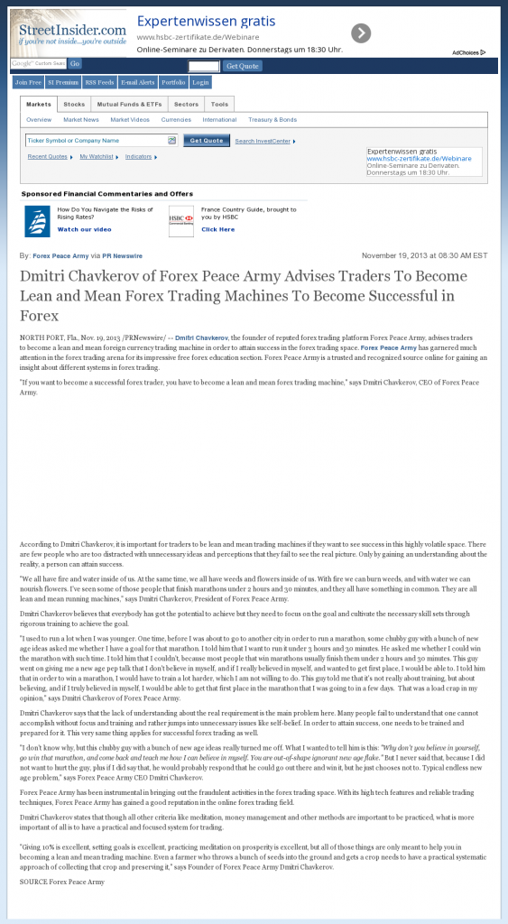 Dmitri Chavkerov - Street Insider - Lean Forex Trading