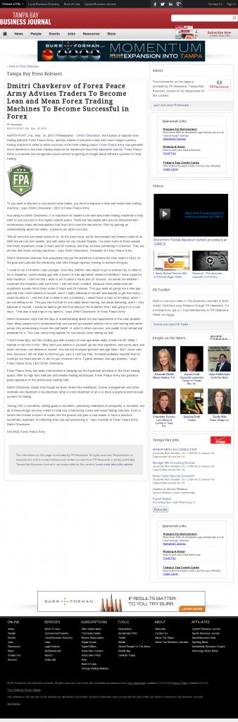 Dmitri Chavkerov - Tampa Bay Business Journal - Lean Forex Trading