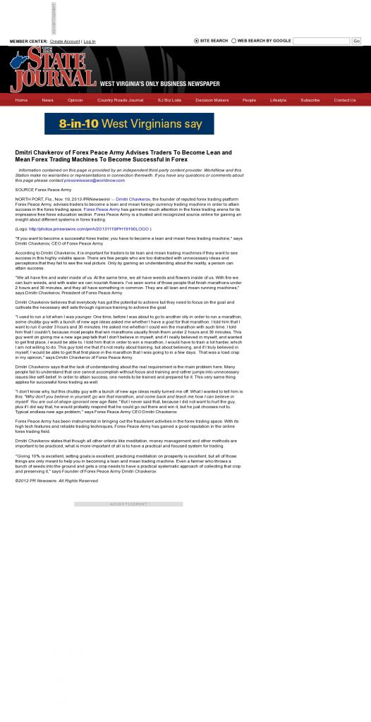 Dmitri Chavkerov - The State Journal (Charleston, WV) - Lean Forex Trading