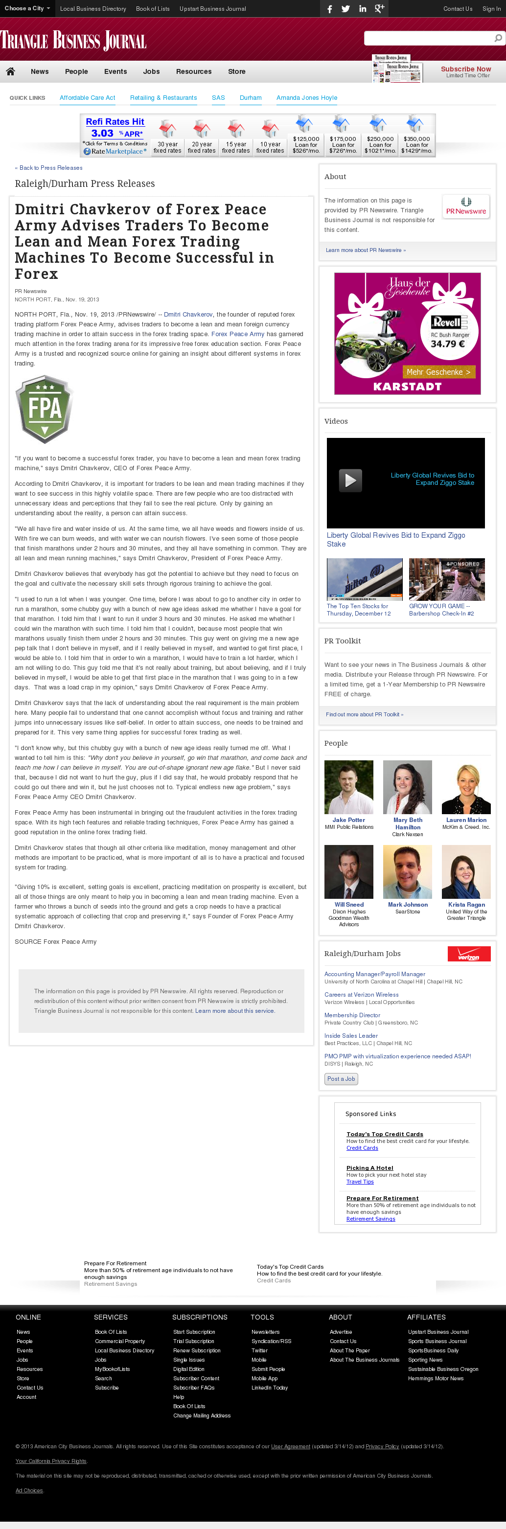 Dmitri Chavkerov - Triangle Business Journal - Lean Forex Trading