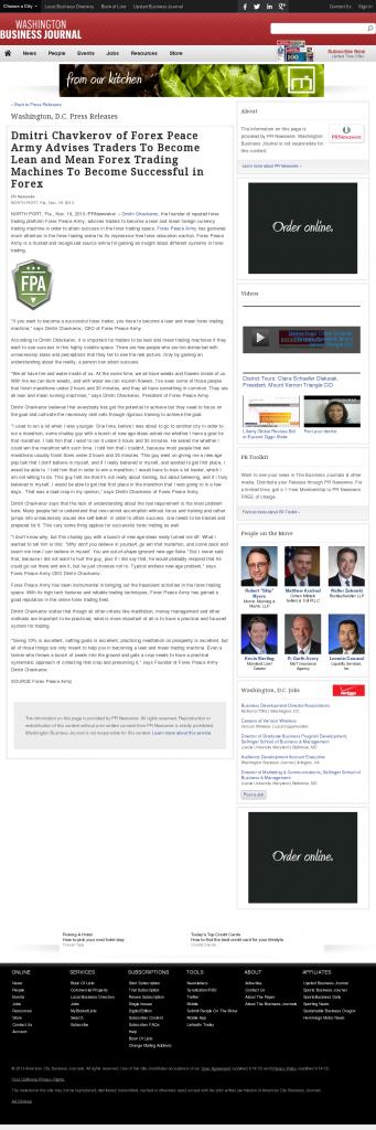 Dmitri Chavkerov - Washington Business Journal - Lean Forex Trading